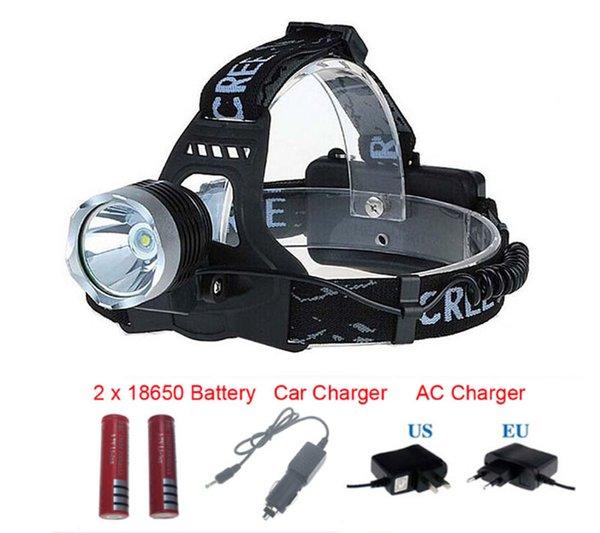 Linterna frontal 2000Lm CREE XM-L XML T6 LED Lámpara frontal Lámpara frontal recargable + 2X 3.7v 18650 Batería + Cargador de CA