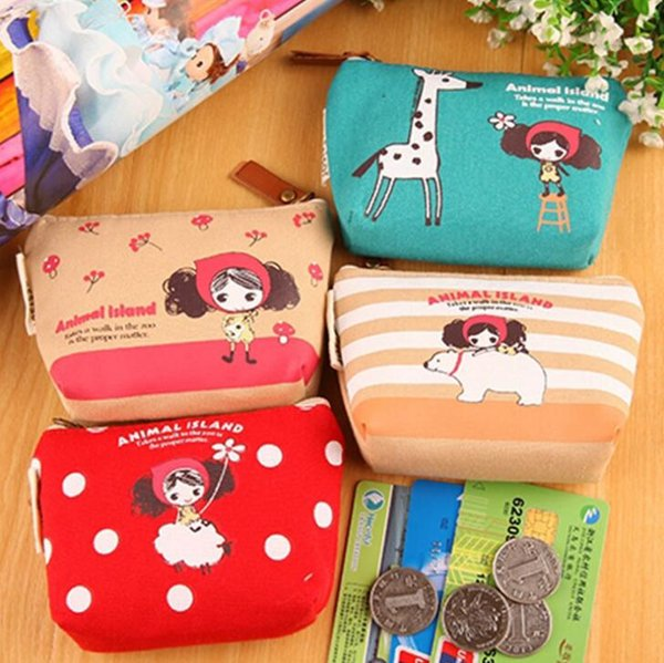 Sweet Girls Animals Island Lady Girl's HAND Coin Purse & Wallet Pouch Case BAG Makeup Holder DHL free ship