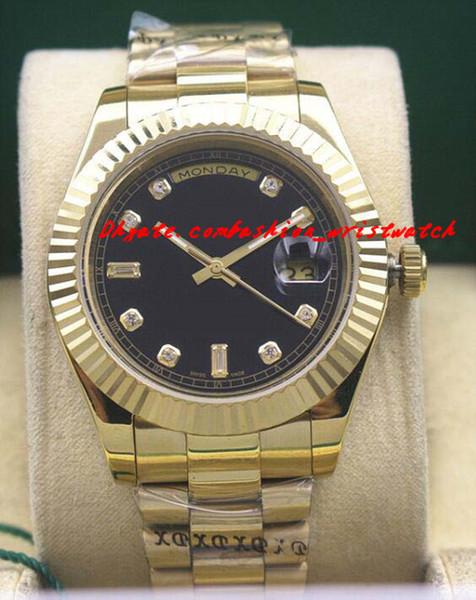 Luxusuhren Mens Gold Black Dial 118348 UHR-BRUST 41mm Automatic Fashion Brand Herrenuhr Armbanduhr
