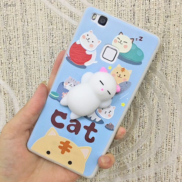 Squishy Cat Phone Case for iPhone 6 6S 7 plus 3D Soft Silicone Panda Sleeping Cat Cover J5 J3 J7 2017 EU Cute Phone Case 5color Fee Shipping