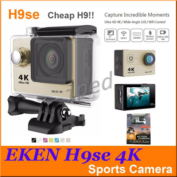 Cheap Ultra HD 4K Video Action Camera EKEN H9 H9SE 140 degrees Sports Camera 2 inch LCD Screen 1080p 60fps retail package 30pcs