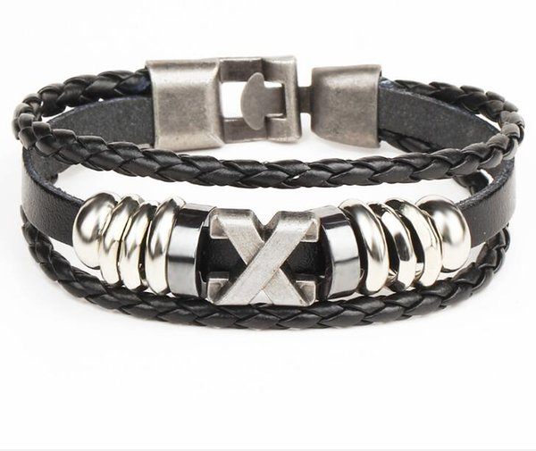 Men's multi-layer woven couple leather Bracelet X letter stainless steel boat anchor Jay Chou with the same Bracelet Free Shipping