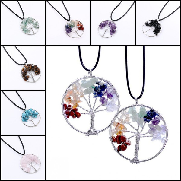 2016 Pierre Naturelle Pierre Pendentif Gravier Perles Rond Arbre De Vie Enroulement Reiki Pendule Pendentif Classique Bijoux Pour Femmes L6