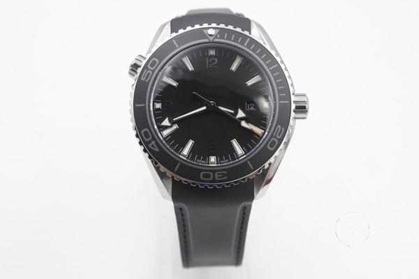 Top NEW Black ETA 8500 Movement Case Sea Planet Ocean BEZEL automatic movement glass back transparent STEEL Belt band original clasp watch