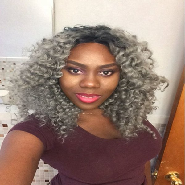 Ombre kinky curly hair lace front wig black two tone dark grey hair with combs and straps baby hair heat resistant Freeshipping