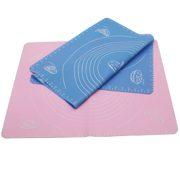 Silicone Baking Mat 50*40cm Cooking Plate Table Cake Fondant Reusable Non-Stick Dough Rolling Kneading Mat with Scale Grill Pad Blue N Pink