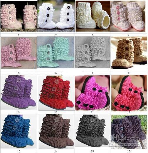 Crochet Baby Boys Girls First Walkers Snow Booties Newborn Infant Toddler Prewalker Shoes Loops Design Fringed Button Faux Fur Cotton Yarn