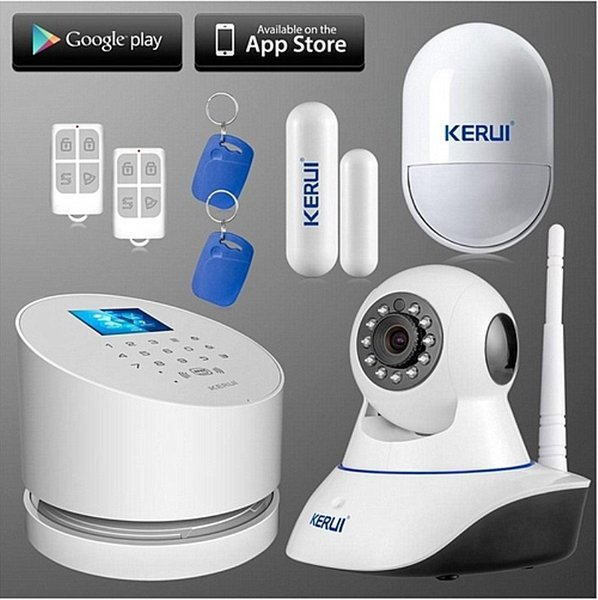 LS111- New kerui wifi internet gprs GSM PSTN alarm system with TFT color LCD display ios android app remote control suit wifi ip camera