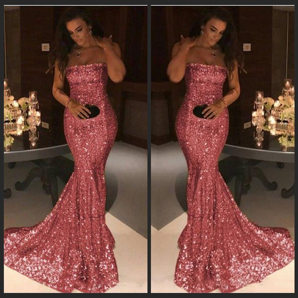 Bling Bling Pink Sequind Prom Dresses Strapless Mermaid Evening Gown Party Dresses Cheap 2018 Sweep Train Evening Dress