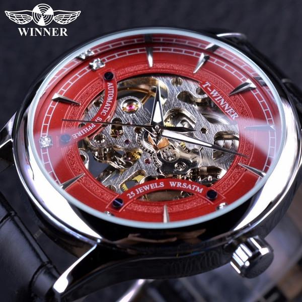 Gewinner Red Fashion Stilvolle Skeleton Diamond Luxus Design Herren Uhren Top-Marken Luxus Herren Armbanduhr Mechanische Uhr