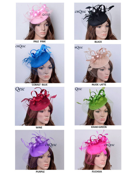 top popular Felt Feather Fascinator Sinamay Fascinator with birdcage veilng&satin loop for Kentucky derby and wedding .can pick the color. 2019