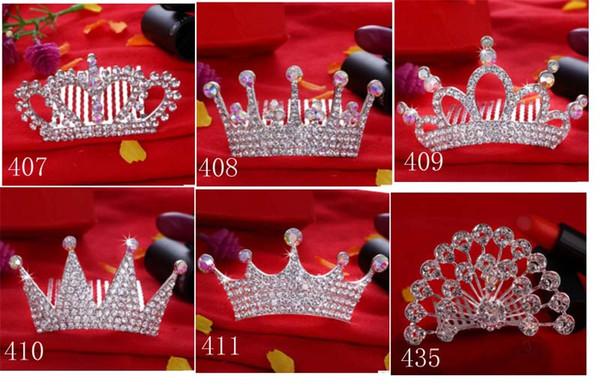 KIDS Crown Princess combs Mini Twinkle Rhinestone Diamante Bridal Princess Crown Hair Comb Hair Clip Tuck Tiara Party Wedding XT