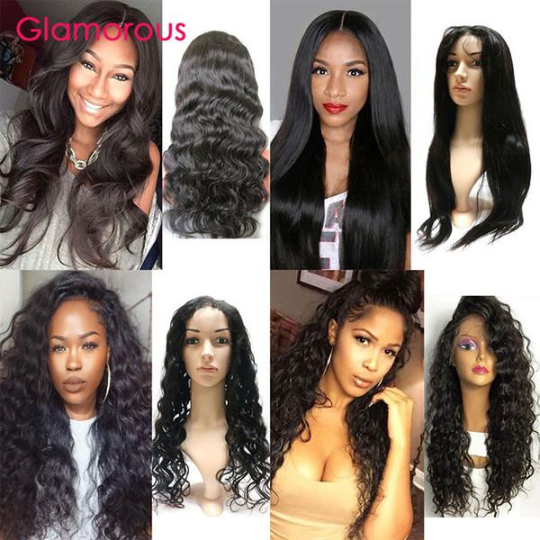 Glamorous Full Lace Wigs 10-30 Polegadas Onda Do Corpo Em Linha Reta Onda Profunda Kinky Encaracolado Peruca de Cabelo brasileiro Peruca Dianteira Do Laço Do Cabelo Humano para as mulheres negras