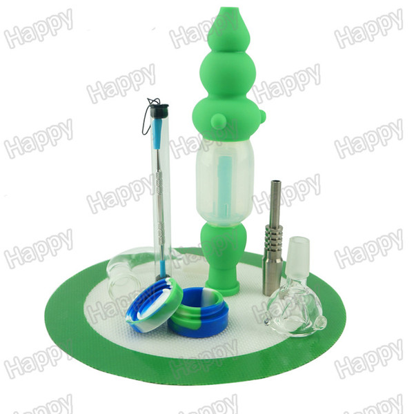 Silicone Hybrid Nectar Collector Concentrate Honey Dab Oil Rig Nectar Collector Kit with Titanium Nail Glas Joint Water Pipe Bong