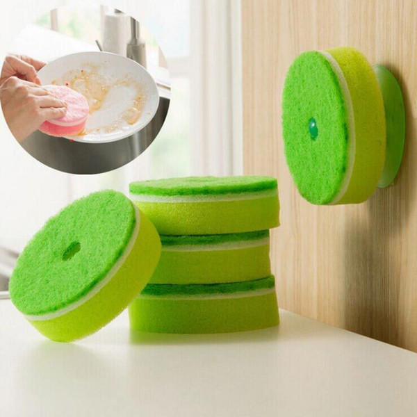 5pcs/sets sponge Strong Decontamination double faced Kitchen Dish Bowl Washing cleaning cloth dish towel+1 PCS vacuum chuck