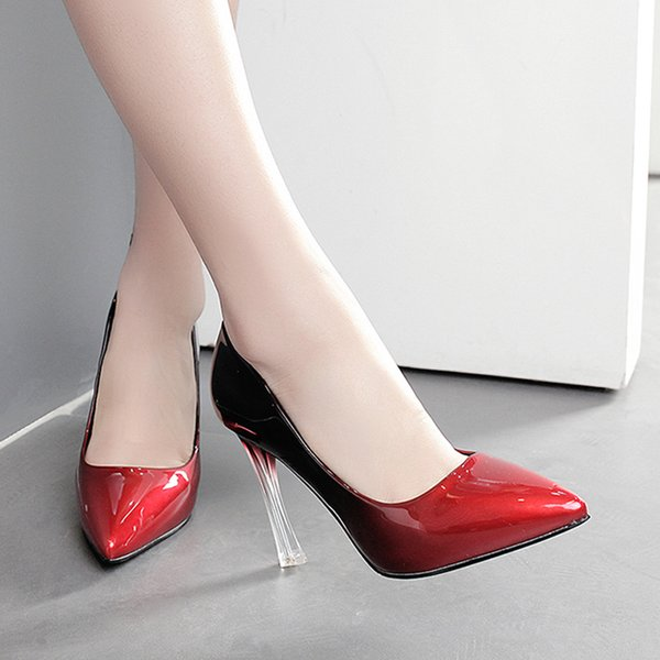 2017 gradient color pointed toe transparent crystal pumps sexy high heels red wedding shoes 10cm size 34 to 39