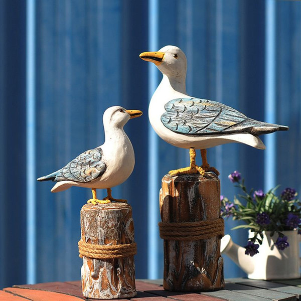 2PCS/SET Wood Seabirds Crafts Mediterranean Style Carved Wooden stake Bird Crafts Gifts