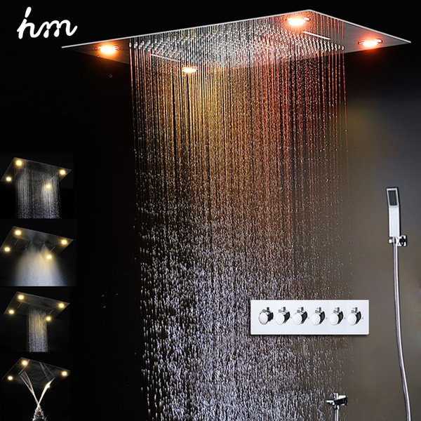 2019 Contemporary Shower Design 600*800MM Ceiling LED Shower Faucet Set Water Spray High Flow Shower Remote control color change
