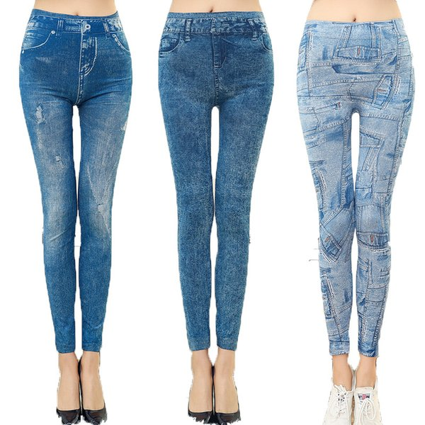 best selling Casual Thin Faux Denim Elastic Jeans Trousers 2 Colors 7 Style Sexy Stretchy Slim Skinny Jeggings Legging For Women Girl Lady