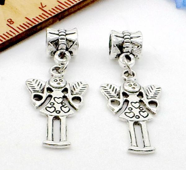 100Pcs/lot tibetan Silver alloy girl angel Charms Dangle Beads Fit European pendant Bracelet Jewelry Making Diy 35x7mm hole 4mm