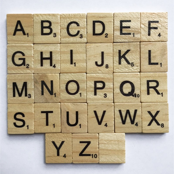 best selling Wooden 100 PCS Alphabet Scrabble Tiles Black Letters Numbers Crafts Figurines