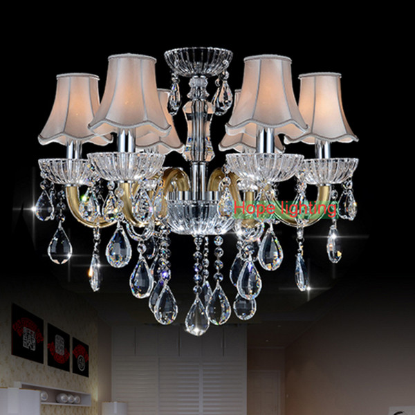European style crystal lamp living room chandelier LED restaurant bedroom study candle crystal lamp luxury American K9 crystal chandelier