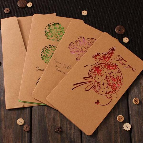 Décorations de Noël Cartes de voeux rétro Carte de découpe au laser Cartes de voeux Kraft Carte de visite Fête de mariage Can Ues
