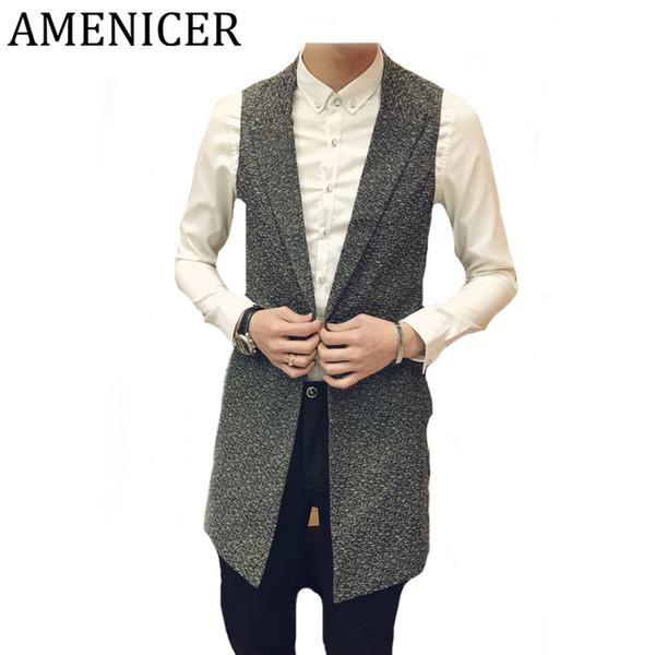 Wholesale- 2017 Mens Vests Korean Turn-down Collar Single Button Slim Fit Casual Fashion Sleeveless Mans Blazer Vests Gilet Homme Marque