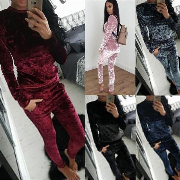 Hot Sale Velvet Tracksuit Casual Sportswear Women Sweatshirt Hoodies Fashion Leisure Velvet Suit Home Ladies