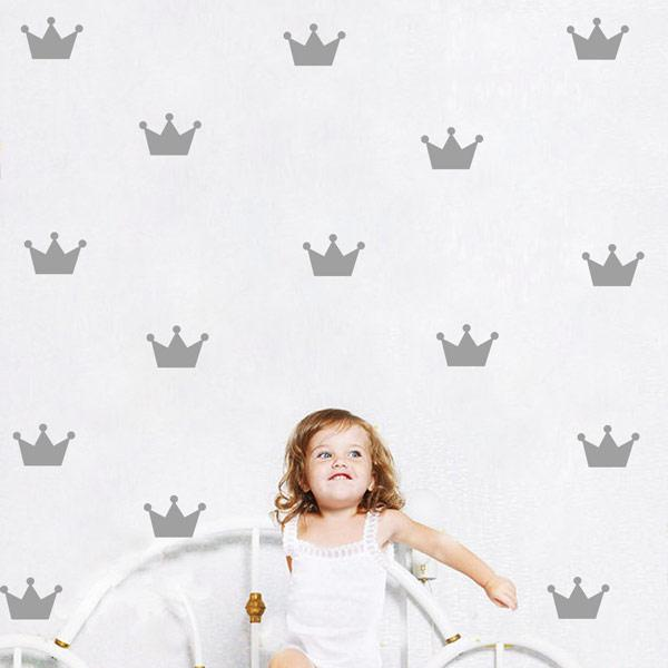 15pcs Mini Crown Wall Sticker Removable DIY Art Decals for Baby Boys Girls Bedroom Nursery Playroom Living Room Dorm Classroom Office Shop