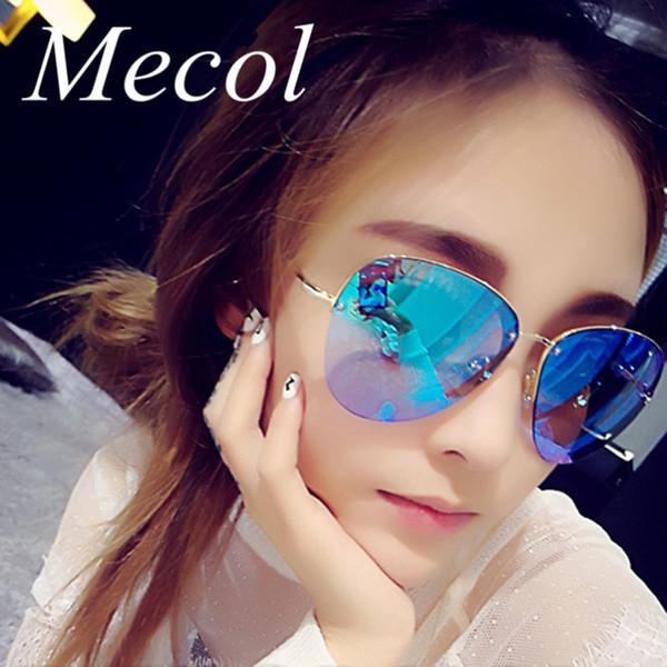 Al por mayor-2016 Moda de lujo sin montura Gafas de sol grandes Mujeres Gafas Oculos De Sol Feminino UV400 Hombres que conducen el gradiente Gafas de sol M170