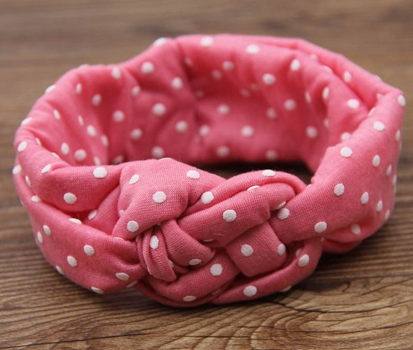 In stock Baby Kids Knot Headbands Braided Head wrap Polka Dot Cross Knot Baby Turban Tie Knot Head wrap Children's Hair Accessories B237-1