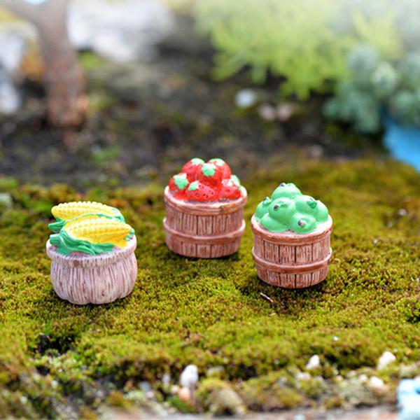 6pcs Home Decor Accessories Zakka Bucket Figurines Fairy Garden Miniatures Statue Bonsai Tools terrarium Resin Crafts Jardin Apple Corn