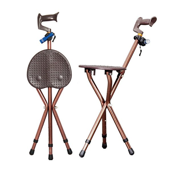 Outdoor Adjustable Folding Walking Cane Chair Stool Massage Walking Stick with Seat Portable Fishing Rest Stool