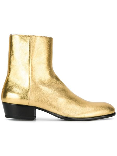 Classic Western Boot In Gold Metallic Leather ankle boots Fall Chelsea Boots zipper mens leather sole shoes size 37-46