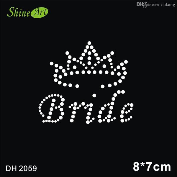 Free shipping China supplier brides crown Rhinestone Hotfix Heat Transfer Motif Design iron on dresses DIY DH2059#