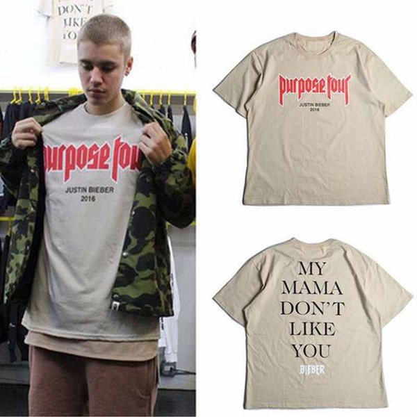 Brand Justin Bieber Fear of God Purpose Tour O-Neck Short Tee Sand Color Merchandise Tour Tshirt Homme Clothing free shipping