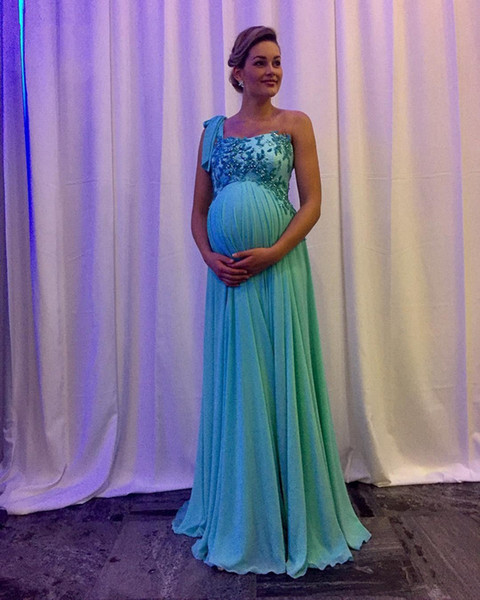 One Shoulder Maternity Evening Dresses Sweep Train Applique Beaded Empire Teal Chiffon Formal Prom Party Gowns Vestido de Festa 2017 E233