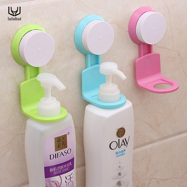 Wholesale- luluhut bathroom wall mounted shower gel shampoo bottle holder wall super suction cup seamless kitchen bathroom shelves hanger