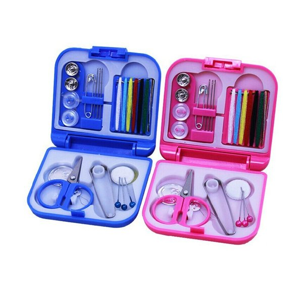 200set Portable Travel Sewing Kit Thread Needles Mini Plastic Case Scissors Tape Pins Thread Threader Set Home Sewing Tools