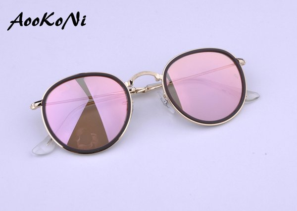 AOOKONI AK3517 Round Folding Sunglasses Vintage Sun Glasses Women Female Brand Design Mirrored UV400 Glasses lunette de soleil 48mm 51mm