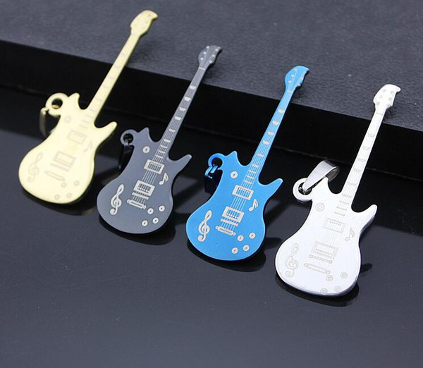 4color Gift Unisex Men's Stainless Steel Music Guitar charm Pendant Necklace Bead Chain 10%off 20pcs 2017 Hot sale