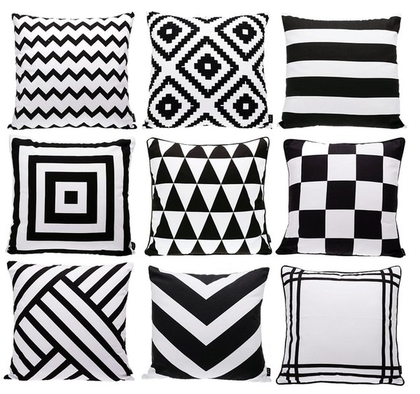Fabulous Modern Black And White Cushion Cover Geometric Triangles Chevron Stripes Plaids Rhombus Rug Pattern Cushion Covers Sofa Throw Pillow Case Outdoor Gmtry Best Dining Table And Chair Ideas Images Gmtryco