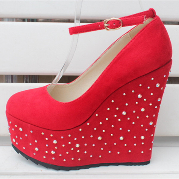 15CM Heel Height Sexy Round Toe Wedges Heel Pumps Platform Party Shoes heels US size 3-10.5 No.1268-19