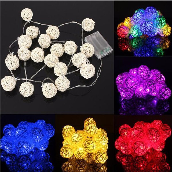 Outdoor Rattan Ball String Lights 2.5 Meters 20 LEDs Colorful Ball Fairy Lights for Gardens Homes Wedding Christmas Party