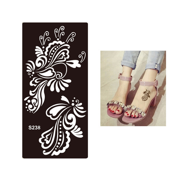 Wholesale- 1pc Tasty Waterproof Temporary Tattoo Henna Flower Stencil for Sex Women Men Makeup Body Art Tattoo Sticker Template Design S238