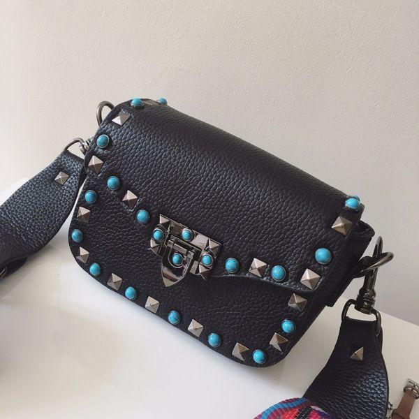 Wholesale-2016 Beautiful Women Fashion Handbags PU Leather Turquoise Rivets Chains Hand Bag Flap Shoulder Messenger Crossbody Black Bags