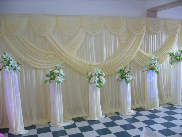 New Arrive White Wedding Backdrops with Swag Popular Custommade Color Wedding Curtain 20ft (w) x 10ft (h) for wedding decoration
