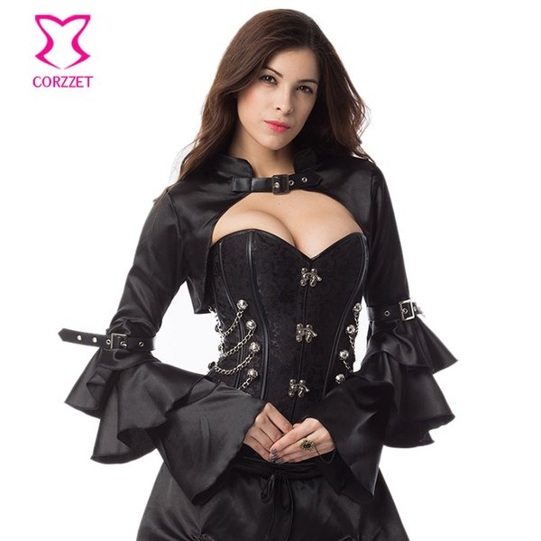 Wholesale- Black Satin Long Ruffle Butterfly Sleeve Sexy Burlesque Costumes Corset Accessories Gothic Victorian Jacket Steampunk Bolero