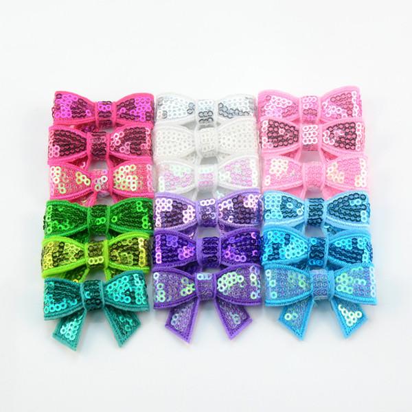 free shipping 50pcs/lot 4.5cm mini hair Sequin Bows Newborn Baby Hair Bows Hair Accessories Glitter Bow Tie Sequin Embroidery Bows H0242
